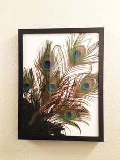 Photography of m & I holding peacock feathers in peacock colors, semi-sepia'd for a large photo in master bathroom. Peacock Colors, Peacock Art, Peacock Feathers, Fabric Feathers, Cute Picture Frames, Picture Frame Crafts, Peacock Crafts, Feather Crafts, Feather Wall Decor