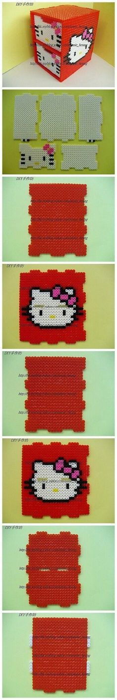 DIY Hello Kitty box perler beads