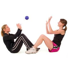Fun workout with a friend!  Work all of your ab muscles by lying on your back (knees bent, feet flat on the floor) and having a partner throw a medicine ball to you in different directions — straight at you, to your left, to your right. Catch the ball by moving only your torso and arms. Toss the ball back to your partner. DO: Two sets of 20 repetitions, two to three times a week.