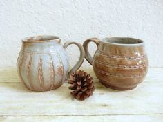 Two Large Ceramic Coffee Cups Stoneware Pottery by MyMothersGarden