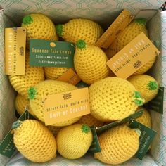 with the Crochet or knit lemons stress balls to calm yourself or others during National Stress Awareness Month! Crochet Fruit, Crochet Food, Knit Or Crochet, Crochet Hats, Crochet Cupcake, Crochet Animals, Amigurumi Patterns, Crochet Patterns, Crochet Ideas