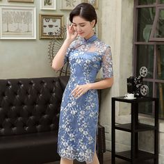 Fantastic+Flowers+Embroidery+Qipao+Cheongsam+Dress+-+Blue+-+Qipao+Cheongsam+&+Dresses+-+Women Chinese Dresses, Chinese Clothing, Pretty Outfits, Pretty Dresses, Shanghai Girls, Oriental Dress, Cheongsam Dress, Traditional Dresses, Chiffon Dress