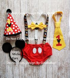 Mickey Mouse Birthday outfit cake smash costume MM suspenders baby FREE EARS diaper cover bowtie or I am one tie Red Hat 9 12 18 24 toddler Mickey 1st Birthdays, Mickey Mouse First Birthday, Mickey Party, 1st Birthday Outfits, Baby Boy Birthday, Birthday Ideas, Birthday Parties, Mickey Mouse Smash Cakes, Birthday Photography