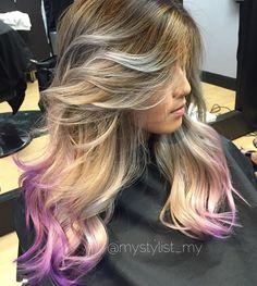 brown+blonde+hair+with+lavender+dip+dye