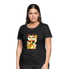 Geschenke Shop   Manekineko Glücks Katze Winke Katze - Frauen Premium T-Shirt T Shirt Designs, Shirt Diy, Trends, T Shirts For Women, Mens Tops, Shopping, Fashion, Shirts, Women