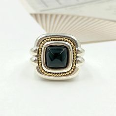 6853e15e3fc0 Stand out wearing this Tiffany Sterling Silver   Gold Vintage Onyx Rope  Ring! Jewelry Branding