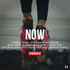 Health Motivation Now Nothing magic will happen tomorrow, you will be as tired and lazy as you are now. Just do it, you won't regret that post-workout feeling. Sport Motivation, Fitness Motivation Quotes, Health Motivation, Weight Loss Motivation, Fitness Goals, Daily Motivation, Health Fitness Quotes, Workout Motivation, Gym Quote