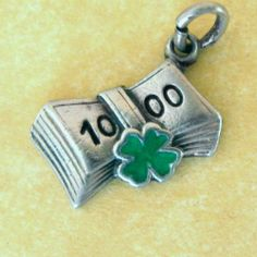 RARE Vintage German Art Deco Silver Enamel Lucky Clover Money Charm $$$ Luck | eBay