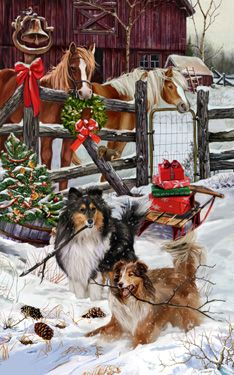 Collie (rough) Christmas Friends - by Margaret Sweeney Christmas Friends, Christmas Horses, Christmas Scenes, Christmas Animals, Christmas Dog, Country Christmas, Vintage Christmas, Rough Collie, Collie Dog