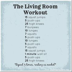 The Living Room Workout: an indoor workout perfect for busy moms! No equipment necessary, so you can do this any time and anywhere! www.TheSeasonedMo...