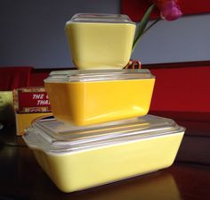 Vintage Yellow Pyrex Refrigerator Set with Lids  by PatinaPatina, $50.00