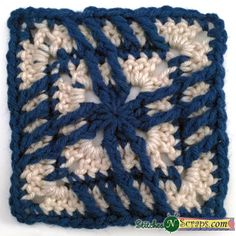 A little twisted square, free crochet pattern on StitchesNScraps