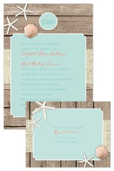 One look at these beach wedding invitations and guests will swear they're hearing the waves and smelling the ocean! The wood panel background with starfish and burlap design creates a lovely setting for your wording @annsbargains