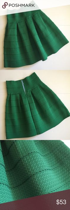 "Girls from Savoy Green Ponte Bell Skirt - XS/S Anthropologie Girls from Savoy Ponte Bell Skirt! Bright green with scalloped ruffled detailing. Worn once and in great condition. A-line instantly creates an itty-bitty waist. Back zip. Size Extra Small / small. 20"" long, waist 12"" across laying flat. Sturdy material, thick, Structured. Has beautiful pleats. Style # 28923480. NO TRADES. Anthropologie Skirts A-Line or Full"