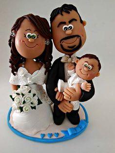 cake topper sposi con bambino
