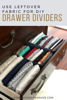 Sewing Fabric Storage diy fabric drawer dividers - One place where I have to have organization in my home is in my dresser drawers. Maybe I'm borderline OCD, but there's just something about having all your clot… Diy Drawer Dividers, Dresser Drawer Organization, Diy Drawer Organizer, Drawer Organisers, Closet Organization, Organizing Drawers, Clothing Organization, Craft Organization, Cardboard Drawers