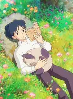 "Arietty's friend Sho reads. From Miyazaki's ""The Secret World of Arietty."" (Source: amatesura, via greenbell)"
