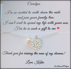 Mother of the Groom gift from bride, Mother of Groom gifts, Family Tree necklace, wedding jewelry, mother of the groom presents, mother of groom from bride  This listing is for a beautiful sterling silver necklace. The family tree charm is so beautiful and will mean so much to your future mother in law. I included a nice freshwater pearl that can be removed if you like. This is a great way to thank her for welcoming you into the family. The charm is 1/2 inch in size so a little smaller than…