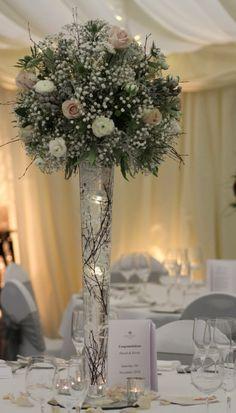 Tall flare vase winter arrangement