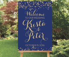 Gold Wedding Welcome Sign Large Welcome by SimplyFetchingPaper