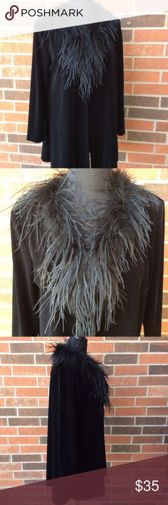 Vintage Patra Velvet Cape EUC Finally letting this piece go. While velvet is is lightweight and better suited for fall/spring. Shell 90% Polyester; 10% spandex. Faux feathers and they are soft, not scratchy at all. Has been dry cleaned. Offers welcomed. Patra Jackets & Coats Capes