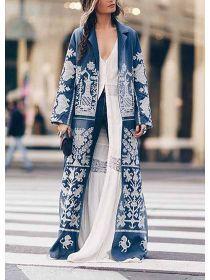 Turndown Collar Printed Colour Long Sleeve Coat - realyiyi.com Moda Grunge, Latest Fashion For Women, Womens Fashion, Long Overcoat, Coat Sale, Print Jacket, Fashion Prints, Coats For Women, Innovation