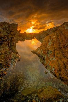 Golden sunrise at Sandy Beach Rockpools, New South Wales, Australia