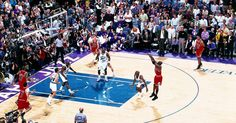 Michael Jordan of the Chicago Bulls shoots the game winner against the Utah Jazz in the 1998 NBA FINALS of Game The shot gave the Bulls their sixth NBA title, at the Delta Center, Salt Lake. Michael Jordan Story, Michael Jordan Last Shot, Michael Jordan Games, Michael Jordan Chicago Bulls, Basketball Players, Basketball Court, Jordan Quotes, Sports Channel, Basketball