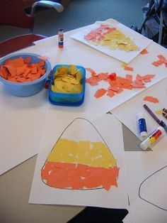 We were going to do candy corn sun catchers, but with the amount of kids we were having we felt this would be easier.  I drew a candy corn shape on some white computer paper.  I then ripped orange and yellow construction paper in pieces.  The kids glued the pieces to the shape.  Very easy for kids of all ages to do.