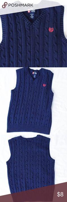 Chaps Sweater Vest Sz L Navy blue Chaps cable knit vest in excellent condition, Sz L. Chaps Jackets & Coats Vests