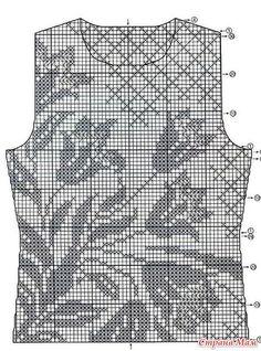 Fillet top lily (or tulips), hook - Knitting - Country Mom Débardeurs Au Crochet, Crochet Daisy, Filet Crochet Charts, Fillet Crochet, Crochet Shirt, Crochet Cardigan, Crochet Stitches, Crochet Vest Pattern, Crochet Patterns