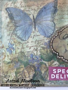 Mailart for Mixed Media Monthly June challenge # 37 Napkin Cards, June Challenge, Distress Oxide Ink, Paint Techniques, Butterfly Cards, Mail Art, Paper Background, Paper Napkins, Journal Pages