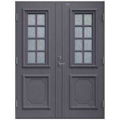 Ytterdörr Exterior Doors, Exterior Paint, Scandinavian Interior, Double Doors, House Front, Windows And Doors, Tall Cabinet Storage, New Homes, Furniture