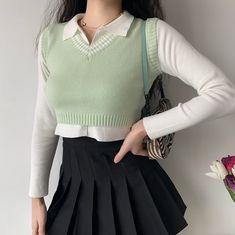 Vest Outfits, Cute Casual Outfits, Pretty Outfits, Korean Girl Fashion, Look Fashion, Kawaii Clothes, Teen Fashion Outfits, Korean Outfits, Kawaii Fashion
