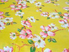 Vintage Fabric  Bright Pink  Dogwood Blossoms on by NehiandZotz, $16.00 Looks like East Tn., doesn't it?
