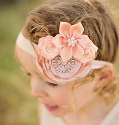 Vintage Inspired Rolled Rosette Headband with Rhinestone Chain Center Fascinator Baby Toddler Women Teen Photo Prop ITEM NO. Handmade Flowers, Diy Flowers, Fabric Flowers, Vintage Baby Headbands, Baby Girl Headbands, Rosette Headband, Diy Headband, Baby Hair Accessories, Bandeau