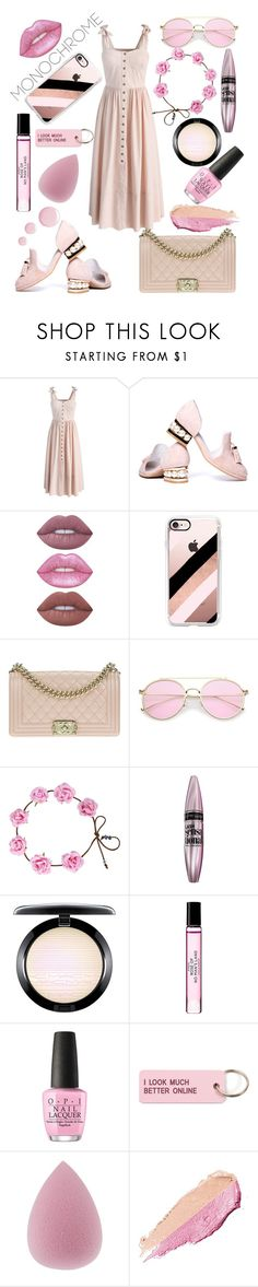 """Summer vibes"" by ellen-frisk ❤ liked on Polyvore featuring Chicwish, Jeffrey Campbell, Lime Crime, Casetify, Chanel, Maybelline, MAC Cosmetics, Byredo, OPI and Various Projects"