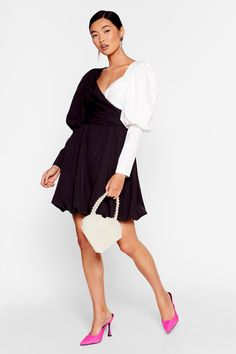 Struttin' Our Puff Sleeve Wrap Dress 30th Birthday Dresses, Cute Birthday Outfits, Birthday Outfit For Women, 21 Birthday, Women Birthday, Mini Shirt Dress, Sweatshirt Dress, Nice Dresses, Dresses With Sleeves