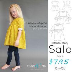 Pumpkin Spice PDF pattern and tutorial 12m-12y  tunic dress jumper blouse by heidiandfinn