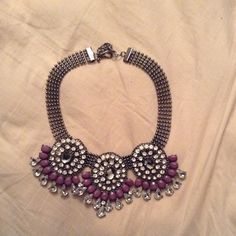 Statement necklace Brand new never worn statement necklace. Stones are a greyish purple color. Jewelry Necklaces