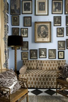 Sitting room by Spanish designer Lorenzo Castillo. A wall of antique prints in browns & black reinforce the primary color scheme which is backed by the dusty blue walls. Best Interior, Interior And Exterior, Interior Design, Sweet Home, Living Spaces, Living Room, Blue Walls, Delft, Beautiful Space