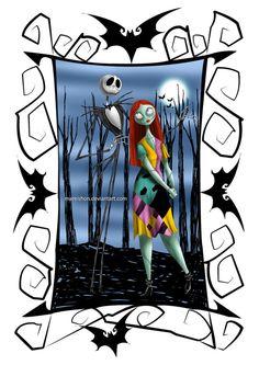 "Jack Skellington and Sally. ""The Nightmare Before Christmas"" Arte Tim Burton, Tim Burton Kunst, Tim Burton Characters, Tim Burton Films, Disney Characters, Sally Nightmare Before Christmas, Jack Und Sally, Drawing Themes, Sally Skellington"