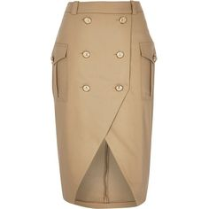 River Island Camel brown military button pencil skirt ($57) ❤ liked on Polyvore featuring skirts, brown skirt, pencil skirt, brown pencil skirt, tall skirts and knee length pencil skirt