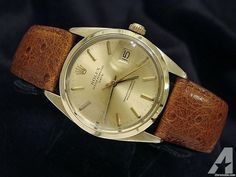 Rolex 14k Yellow Gold Shell Date Watch W/leather