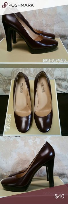 Michael Kors platform pump size 7M with box Beautiful Michael Kors shoes. Leather upper and leather sole. Great quality and in great condition! Shoe name: Raceway platform pump ; color: Oxblood Heel: 4 and 3/4 inches Michael Kors Shoes Platforms