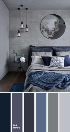 Grey Bedroom Colors, Dark Blue Bedrooms, Bedroom Colour Palette, Bedroom Ideas Grey, Bedroom Simple, Dark Gray Bedroom, Modern Grey Bedroom, Grey Bedroom Design, Blue Bedroom Ideas For Couples