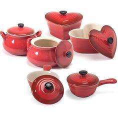 Conjunto de Panelas de Cerâmica 5 Peças Vermelha - La Cuisine