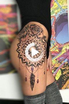 70+ Beautiful Thigh Tattoos for Women Designs [2020] - Tattoos for Girls #thightattoos #thightattoos Henna Thigh Tattoo, Animal Thigh Tattoo, Tiger Tattoo Thigh, Butterfly Thigh Tattoo, Mermaid Thigh Tattoo, Thigh Tattoo Quotes, Hip Thigh Tattoos, Floral Thigh Tattoos, Thigh Tattoo Designs