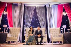 This Pakistani walima is a lavish celebration with beautiful decor where the bride and groom pose for lovely portraits.