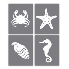 Starfish Print Crab Print Nautical Art Print Set of Four 8x10 Modern Silhouettes for Home Decor or Nautical Art. $50.00, via Etsy.